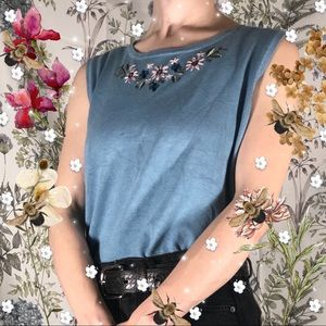 Dress Barn Floral Fun Embroidery Detail Tank Top